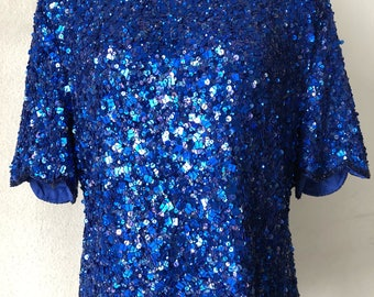 BLUE SEQUINS BLOUSE