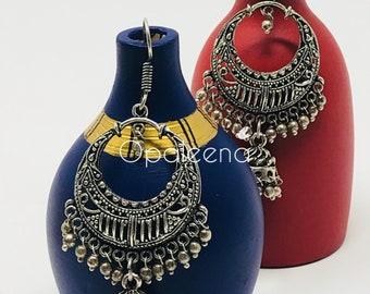 Crescent Moon Earring, Silver earring, Handmade earring, Tribal earrings, Handmade jewelry, Drop earrings, Thin wire earrings, Silver drop