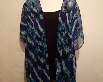 Handmade Chiffon Kimono - Blue / White Pattern - Fits to Size 20 | Kimono Jacket | Kimono Top | Kimono Dress | Kimono Robe | Kimono Cardigan