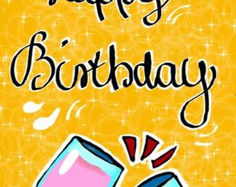 Birthday Congratulations Card Card Happy Birthday-Prints digital art-300dpi jpg/png-750x1063 px