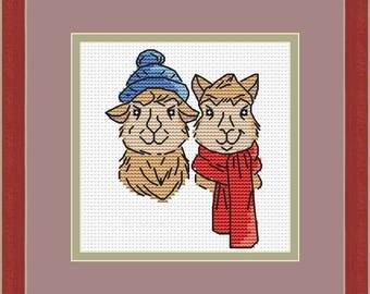 Cross stitch pattern, alpacas, animal cross stitch pattern, llama cross stitch pattern, PDF cross stitch pattern