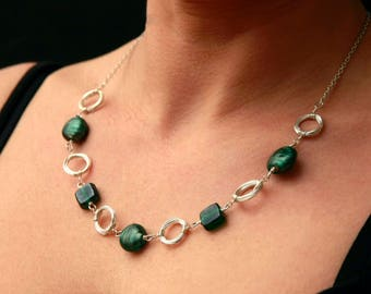 Green and Silver Necklace and Earrings set