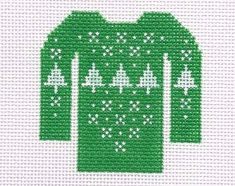 Handpainted Needlepoint Canvas Ugly Christmas Sweater Green with White Trees 13 Ct