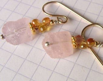 Earrings Morganite Nugget and Songea sapphire/sapphire, gold filled, vermeil, sterling silver