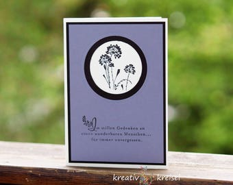 Mourning card, black flowers, with envelope, Handgefe