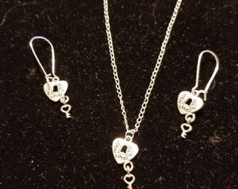 "Boutique...Order Now for Valentine... Silver Alloy Love Key Lock Charm Heart 18"" Silver Coated Necklace with Matching Earrings Set"