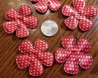Cute Padded Large Dotted Flowers 15 Pieces for sewing/doll making/hairbow/scrapbooking/crafts, etc.