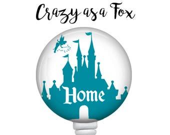 "Cinderella's Castle ""Home"" Retractable Badge Holder, Badge Reel, Lanyard, Stethoscope ID Tag, Nurse, RN, student, teacher, md, pa, cna  Gift"