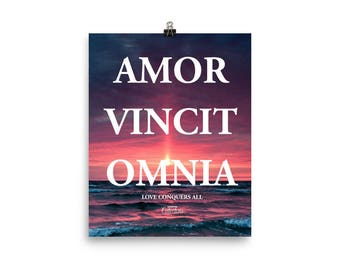 Love Conquers All Latin Quote Poster