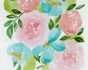 Teal, Pink and Coral Watercolor flowers - Digital Download - wall art