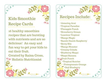 Kids Smoothie Recipe Cards