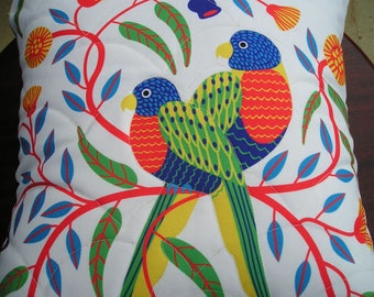 Quilted Parrot Pillow Envelope Canvas Cover