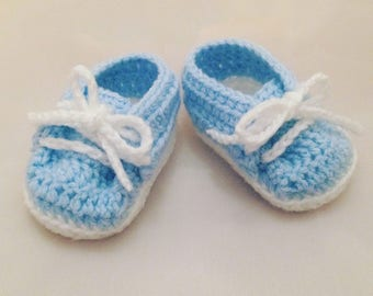 Blue & White Baby Booties