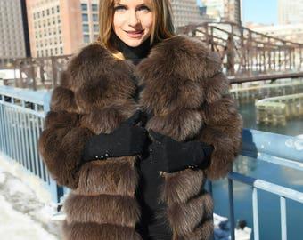 Luxury fox fur coat 4 in 1