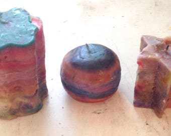 Colorful candles, handcrafted