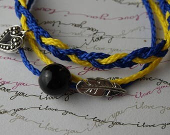 Multi wrap around Boho-chic bracelet, handmade with feather and  heart pendant. For festivals and summer wear. Heart wrap bohemian bracelet.
