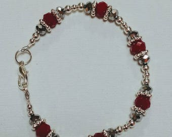 Red Glass Bead Bracelet with Silver Accents