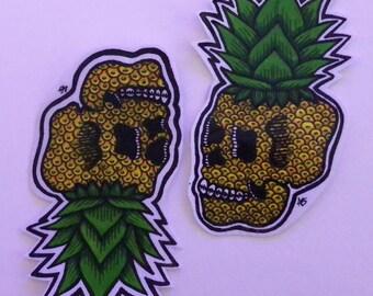 2 Pineapple Skull Stickers
