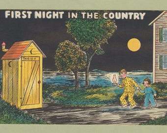 First Night in the Country Comic Postcard Outhouse Humor Kids With Lantern