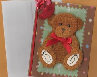 Cute Handmade 3D Fuzy Teddy Bear Birthday Card With Envelope