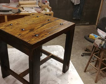 Quality built rustic side couch table