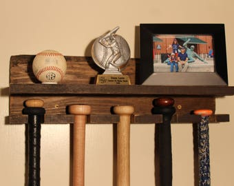 "5 bat - 20"" Rustic Wood Baseball or Softball Bat Rack and Shelf"