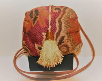 Vintage Tapistry and Leather Mini Purse. 70s.