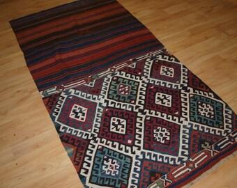 Antique Anatolian Malatya Chival Kilim, Superb Colour and Design, Circa 1900.