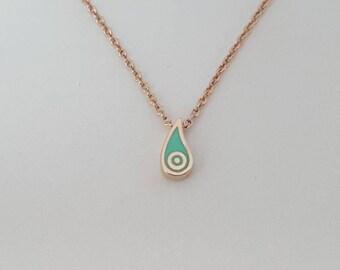Evileye pendant, Evileye enamel teardrop necklace, evil eye enamel pendant, rose gold pendant, fashion mystic jewelry, valentine's day gifts