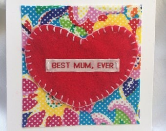 Mother's Day card - handmade - handstitched with woven name tape