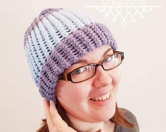 Blue Loom Knitted Hat - Teenager/Small Adult
