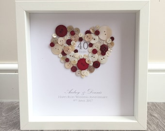 40th Wedding Anniversary Gift Personalised Ruby Frame For