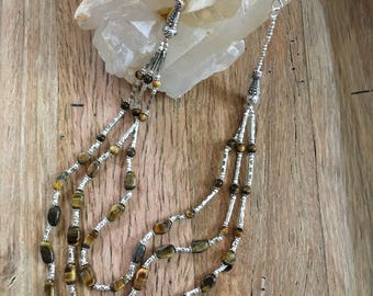Tigers eye and Silver muti strand necklace
