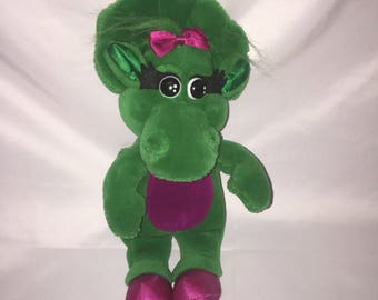 "Baby Bop Barney Green Purple Dinosaur Plush Stuffed Animal 1990's 14"""