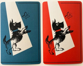 Pair Of Vintage Swap / Playing Cards - Scotty Dogs With Butterflies - Linen Finish - Mint Condition