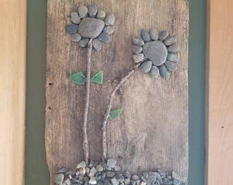 rock flower wall decor