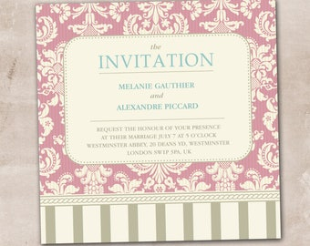 Wedding Invitation, Wedding Invitation with Matching RSVP and Other Information Card,  Contemporary Wedding Invitation, Vintage Wedding Inv