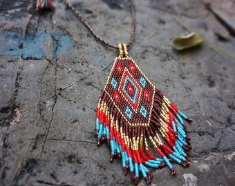 Boho Fringe Pendant, Bead Embroidered Necklace, Large Boho Necklace, Seed Bead Necklace, Geometric Pendant, Fringe Necklace, Native Pendant