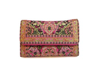 Pink Boho Wallet Oriental Coin Purse Women's Pocketbook Vegan Bifold Snap Clutch Floral Clutch Hippie Style Paisley Billfold Gift For Her