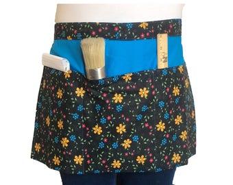 Black & Multi-flowered Half Apron with Pockets, Waitress Apron, Teacher Apron, Artist Apron, Vendor Apron, Craft Show Apron