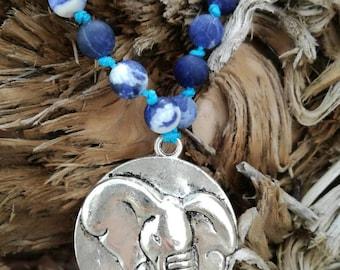 Elephant necklace made of precious stones