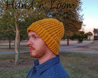 Yellow Loom Knit Hat | Handmade for Teens/Adults | Hand 'n' Loom Custom Knit Hats - Beanies Crafted Using Lion Brand Yarn