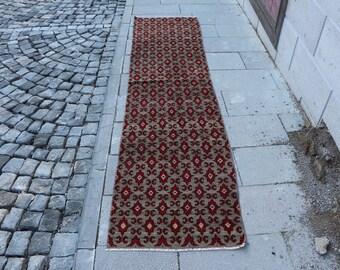 Floral design runner rug Free Shipping 2.1 x 8.7 ft. stair rug, hallway rug, kitchen design rug, organic natural wool rug, floor rug MB339