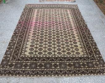 geometric pattern rug, turkish rug, aztec rug, Free Shipping  5.5 x 8.4 ft. handknotted rug, oushak rug, bohemian rug, nomadic rug, MB426