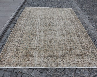 Large dimension turkish rug, 6.6 x 10.2 ft. Free Shipping oversize anatolian rug, bohemian rug, oushak rug, handknotted wool rug, MB504