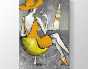 Woman Printing On Canvas-Abstract Woman Painting, Wall Art, Canvas Prints, Room Deco