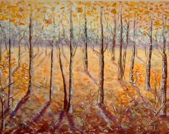 Golden Autumn, acrylic painting on canvas, modern art, abstract, acrylic painting,