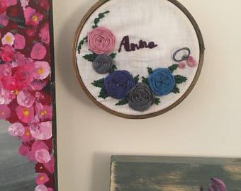 Bespoke Custom Name w Wreath Hoop