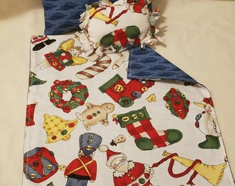 Doll Blanket with 2 Pillows