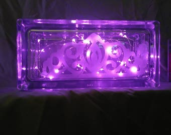Etched Glass box with pink lights